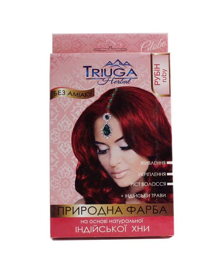 Краска натуральная для волос на основе хны, 25 г, Triuga Рубин Триюга