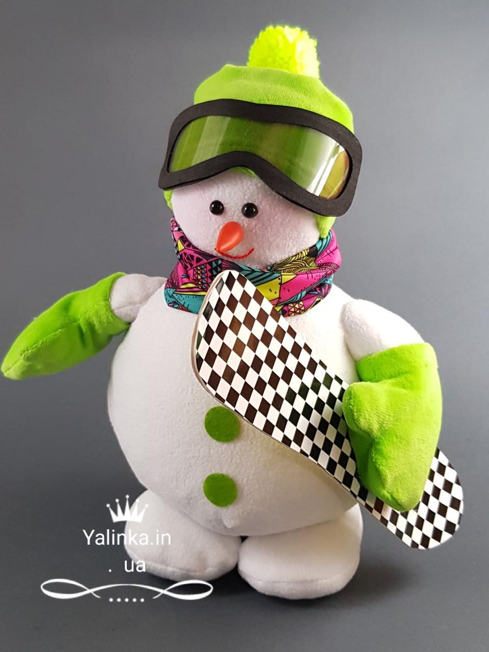 Мягкая новогодняя игрушка Снеговик-Сноубордист 26 см