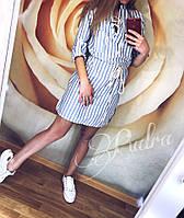Платье женское летнее льянное (42/46 универсал) (цвет голубой) СП, фото 1
