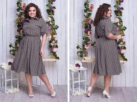 """Летнее  платье-рубашка """"Марго"""" с расклешенной юбкой (большие размеры), фото 2"""
