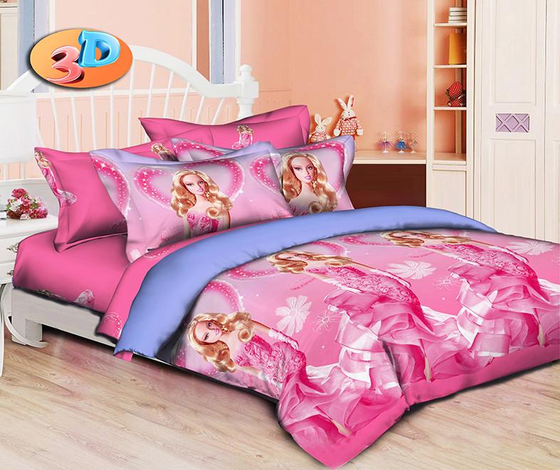 Полуторный детский комплект постельного белья 145х215 «Барби Принцесса» из ранфорса 50х70 см