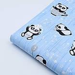 """Ткань хлопковая """"Панды в чашках и звёздочки"""" на голубом фоне, №1629а, фото 3"""