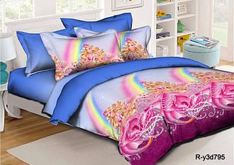 Полуторный детский комплект постельного белья 145х215 «Барби и радуга» из ранфорса 50х70 см