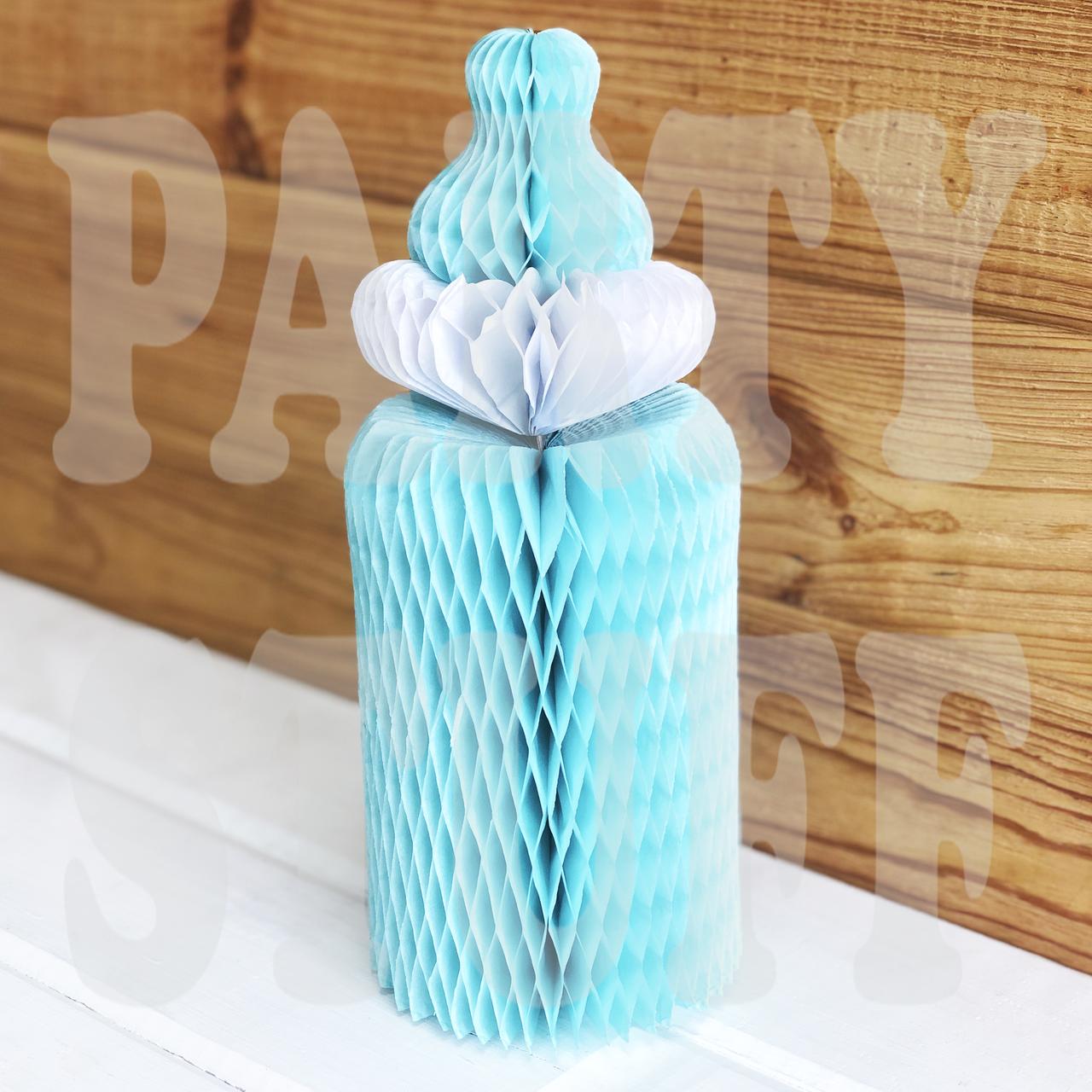 Бумажные соты из тишью Детская бутылочка, голубая