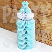 Бумажные соты из тишью Детская бутылочка, голубая , фото 1