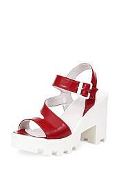 Босоножки женские красные кожаные на устойчивом каблуке (0224)