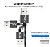 Магнітний USB кабель TOPK без конектора Сірий, фото 2