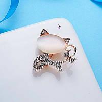 """Роскошная сверкающая металлическая брошь брошка значок с камнями страз """"Кошечка"""" Tiffany Style 14074"""