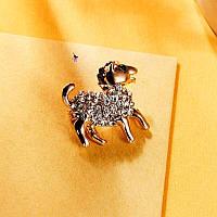 """Роскошная сверкающая металлическая брошь брошка значок с камнями стразами """"Овечка""""14075"""