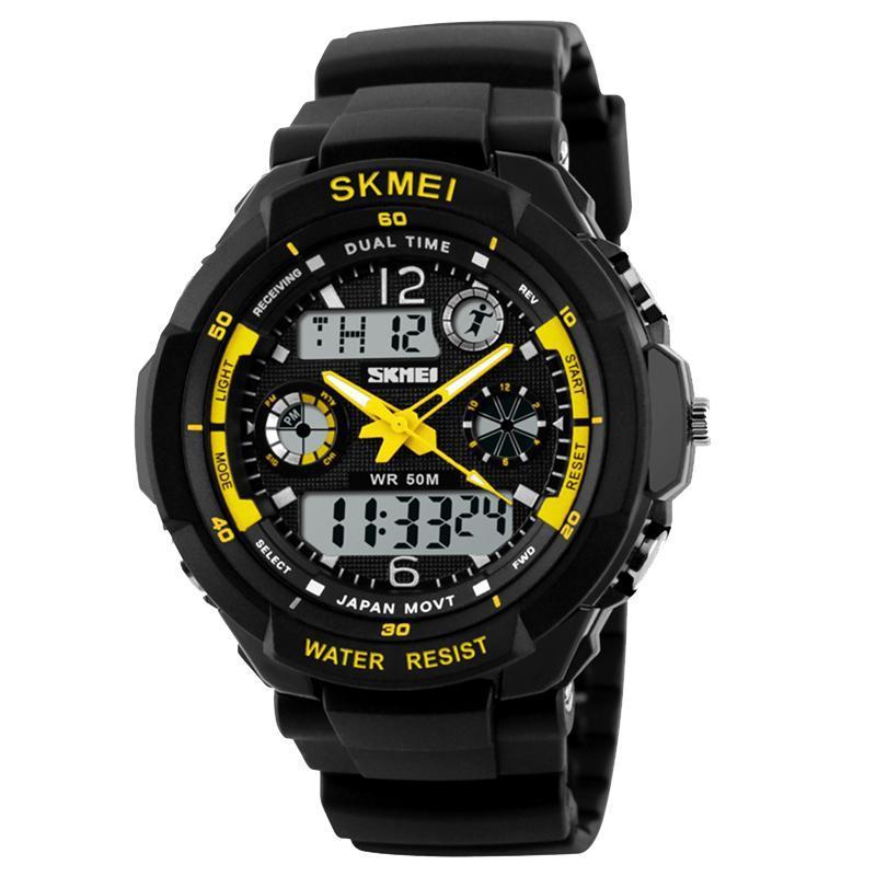 Часы наручные спортивные Skmei 0931, черный-желтый, в металлическом боксе
