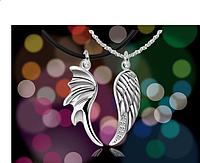 Серебряный кулон Крылья Ангела парные влюбленным 2 штуки