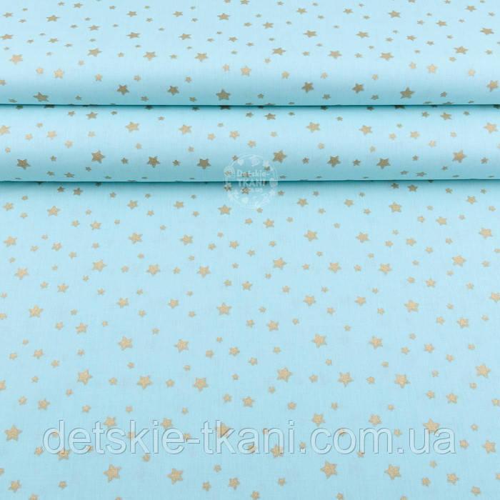 """Лоскут поплина с глиттерным рисунком """"Золотое созвездие"""" на бирюзовом фоне №2087 размер 18*69"""