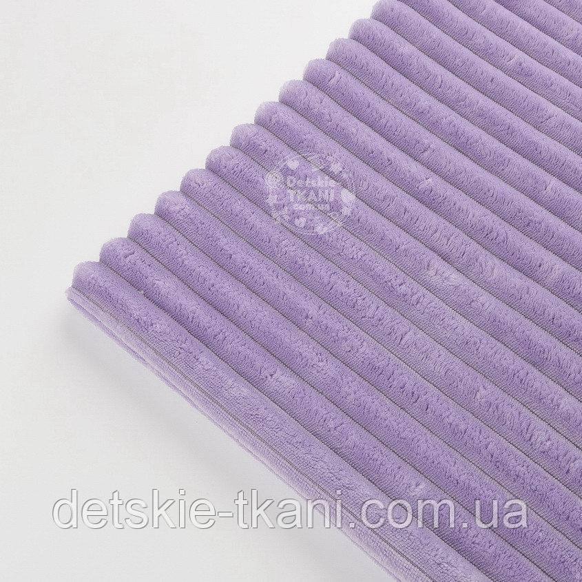 """Лоскут плюша в полоску """"Stripes"""" сиреневого цвета, размер 100*80 см (есть загрязнение)"""
