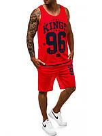 Комплект спортивный летний майка+шорты J.Style красного цвета