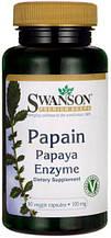 Папаин, фермент папайи, энзимы, Papain Papaya Enzyme, Swanson, 100 мг, 90 капсул