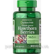 Боярышник, Hawthorn Berries 565 mg, Puritan's Pride, 100 капсул