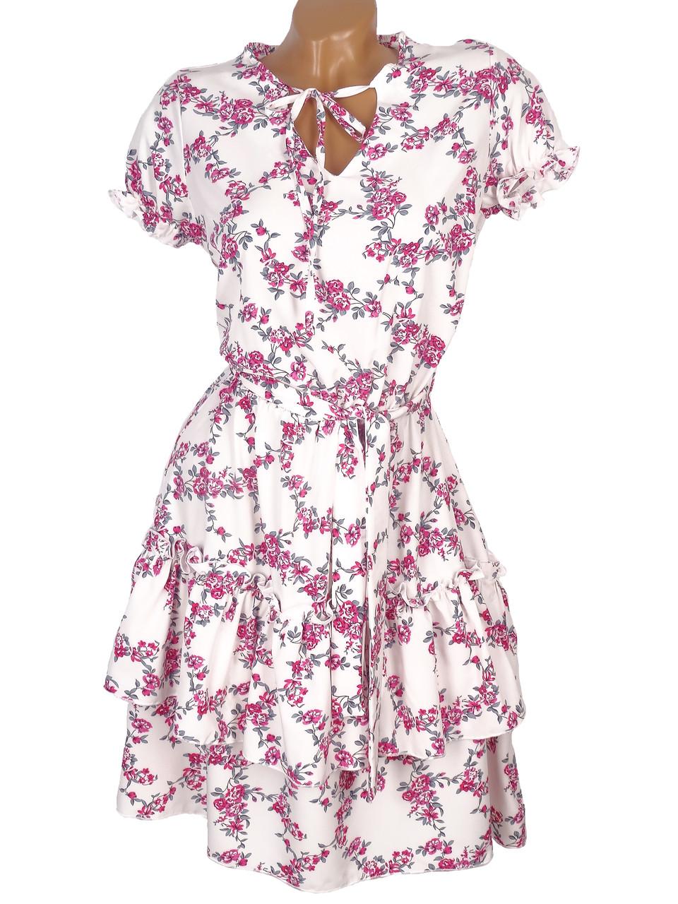 Яркое цветочное платье с завязками 42-48