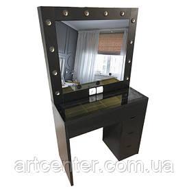 Стол для визажиста черный, туалетный столик, стол визажный черный