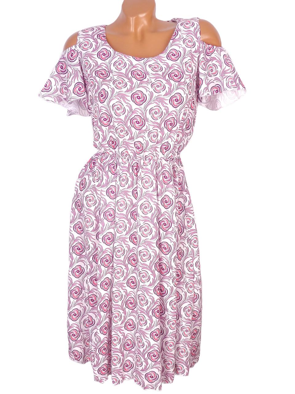 Платье весеннее в цветы с узорами 44-48