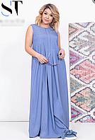 Джинсовое платье длинное, с 48-54 размер, фото 1