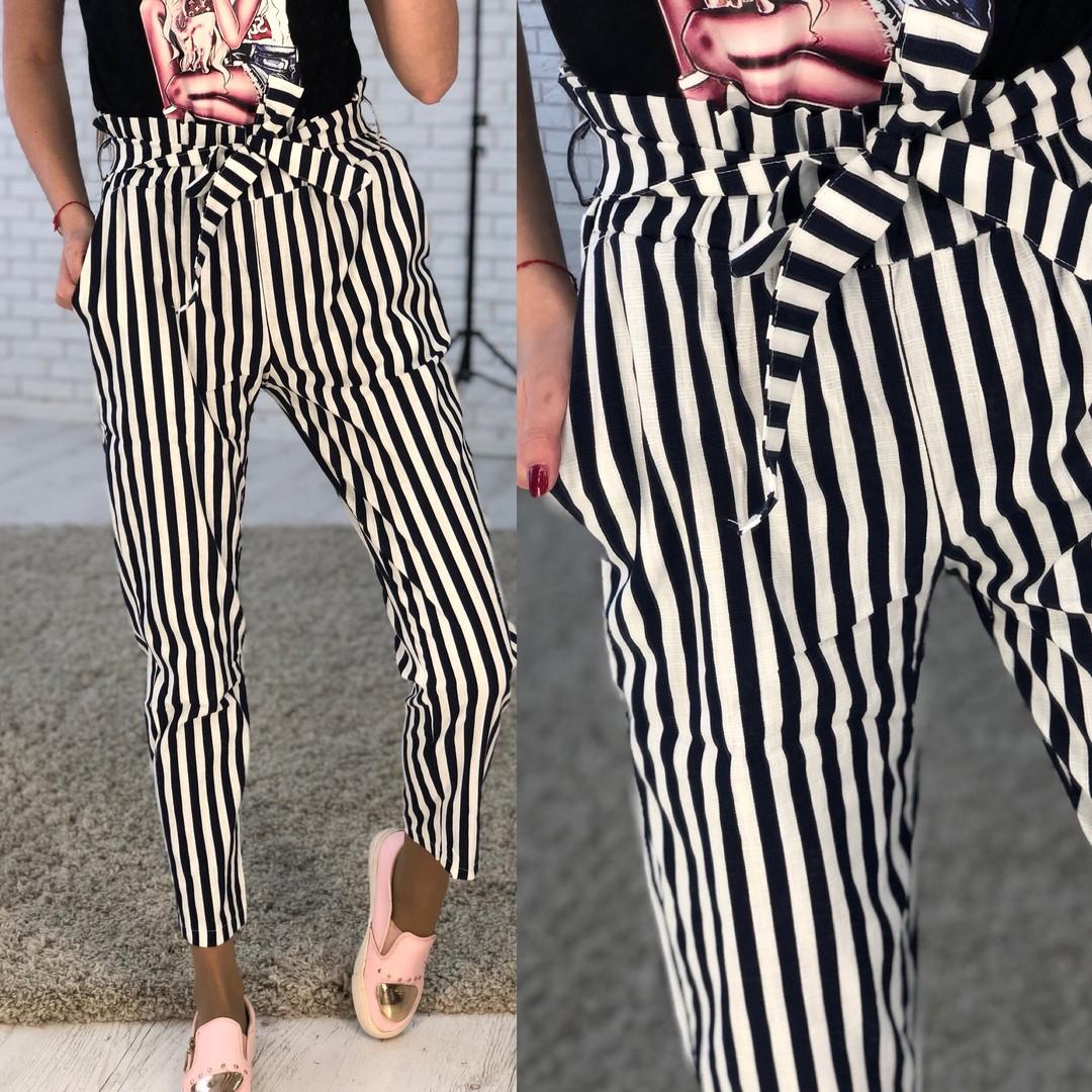 Полосатые женские брюки с поясом