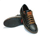 Туфли мужские полуспортивные из натуральной кожи черные  MarSoni   код 126