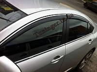 Ветровики с хромом, дефлекторы окон Mazda 6 2007-2012