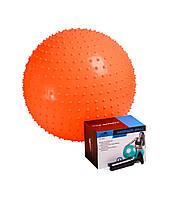 М'яч-масажер для фітнесу PowerPlay 4002 55см Оранжевий + насос, фото 1