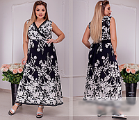 Платье черное с принтом, с 50-60 размер, фото 1