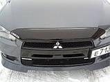 Мухобойка, дефлектор капота Mitsubishi Lancer X 2007-2010 (HIC), фото 3