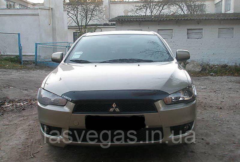 Мухобойка, дефлектор капота Mitsubishi Lancer X 2007-2010 (HIC)