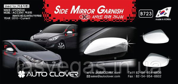 Хром накладки на зеркала без повторителя Hyundai Elantra MD 2010+