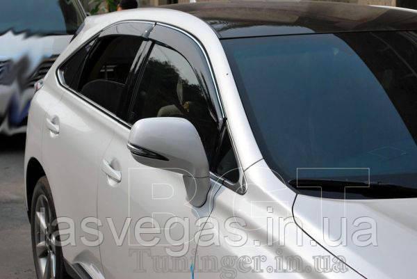 Ветровики с хромом, дефлекторы окон Lexus RX 350;450 2009+