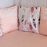 """Бортики-подушки в дитяче ліжечко """"Пір'я"""" 60х120 см. на 3 сторони ліжечка"""