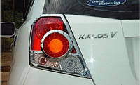 Хром окантовка задних стопов Chevrolet Aveo HB 2002-2008 (Cromax)