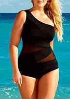 Женский сплошной купальник черного цвета Plus size