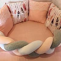 """Бортики-подушки в кругле/овальне ліжечко """"Пір'я""""+бортик-косичка"""