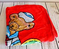 """Плед детский с капюшоном """"Мишка моряк"""", в коляску для прогулок и для дома. Красный"""
