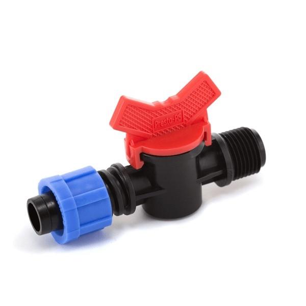 Кран кульовий Presto-PS з зовнішньою різьбою 1/2 дюйма для краплинної стрічки 16 мм (TV-0117)