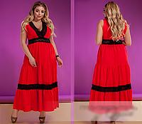 Льняное платье красное, с 48-58 размер, фото 1