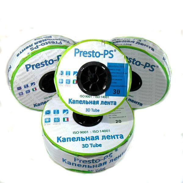 Капельная Лента Presto-PS Эмиттерная 3D Tube Капельницы Через 20 см, Расход 2.7 л/ч, Длина 1000 м