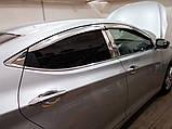 Дефлектори вікон хромовані (вітровики) Hyundai Accent 2010-2017 (Auto Clover A482), фото 4