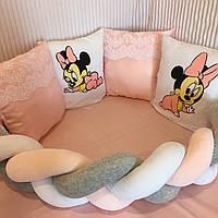 """Бортики-подушки в кругле/овальне ліжечко """"Міккі маус""""+бортик-косичка"""