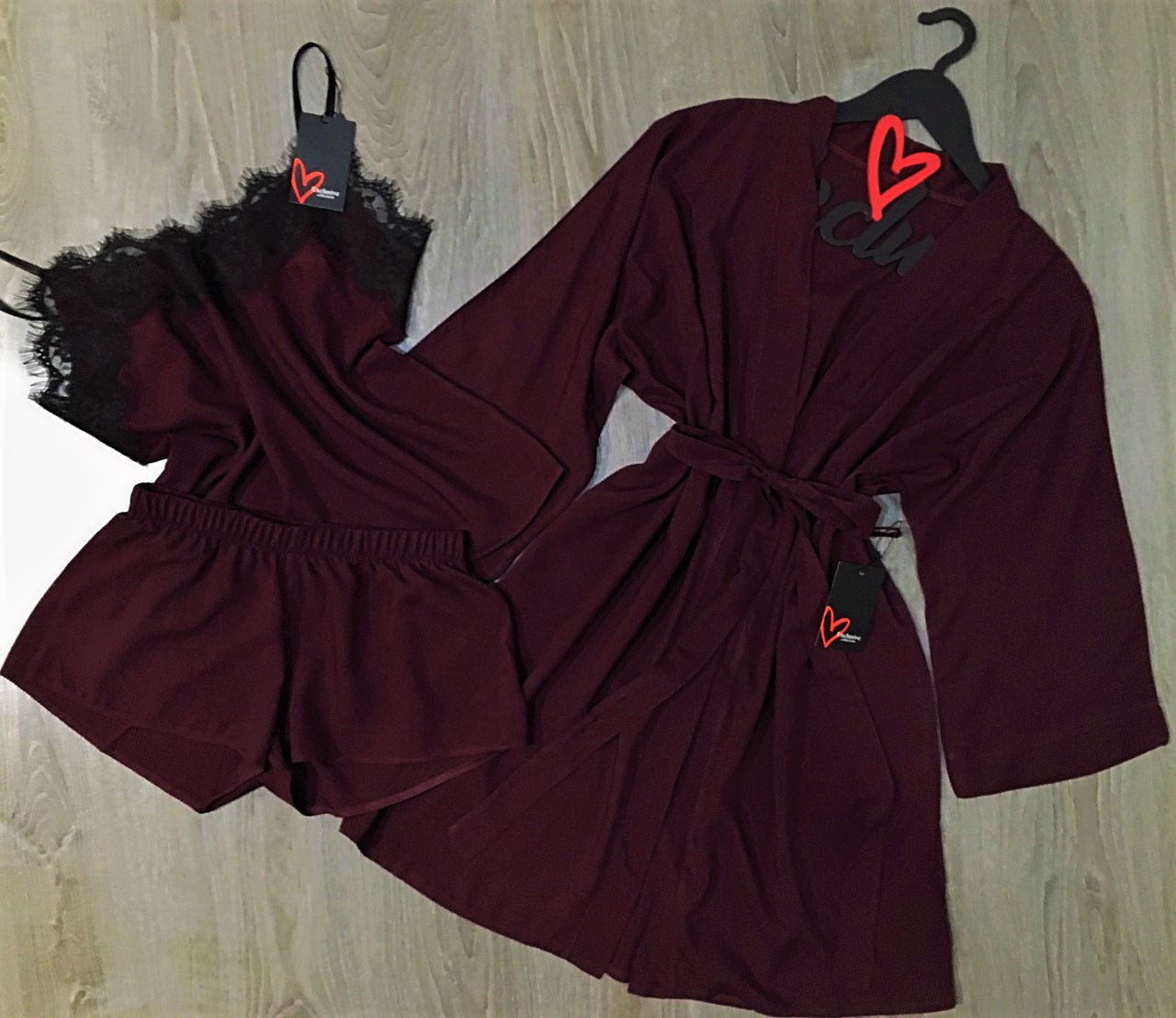 f0319340bad705b Вишневый комплект для дома из штапеля-халат+пижама с кружевом. - Оптовый  интернет