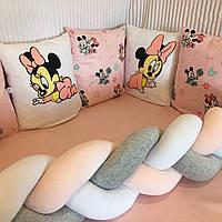 """Бортики-подушки в кругле/овальне ліжечко """"Міккімауси""""+бортик-косичка"""