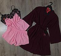 Халат+пижама с кружевом-домашний комплект тройка хлопок.