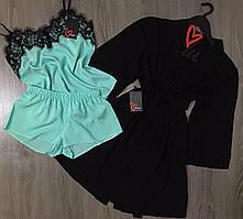 Мятная пижама+черный халат-комплект тройка с кружевом 047-015.