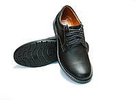 Туфли мужские MarSoni на шнуровке черные миникласик из натуральной кожи, код 216