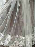 Королевская фатиновая тюль с красивой вышивкой, фото 1