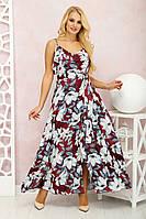 Платье Милена Цветы марсала, фото 1